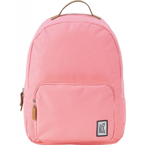 The Pack Society hippe solid pink classic backpack met lichtbruine details