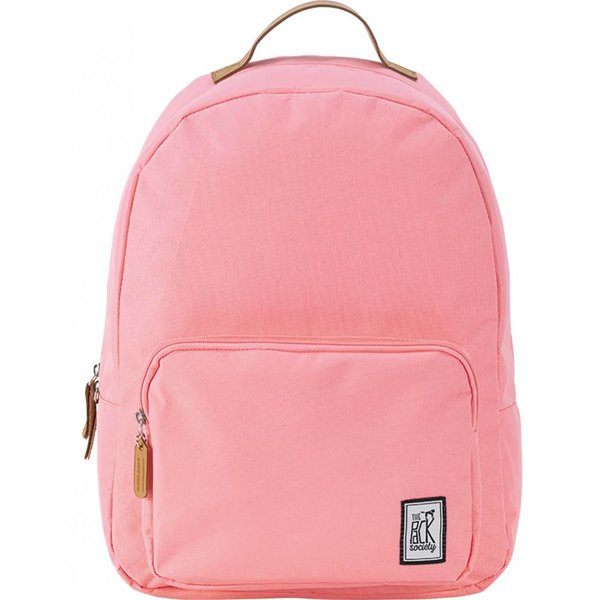 hippe solid pink classic backpack met lichtbruine details