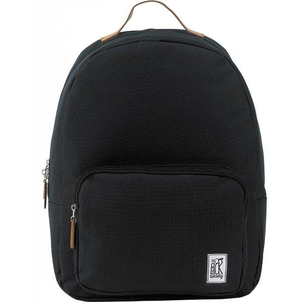 hippe zwarte classic backpack met lichtbruine details