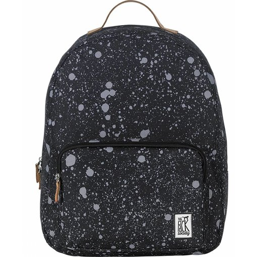 The Pack Society hippe zwarte classic backpack met spatten