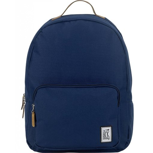 The Pack Society hippe navy classic backpack met lichtbruine details