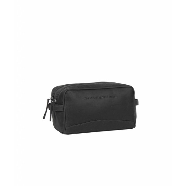 Toiletbag 'Stacey' Wax Pull Up Leather Zwart