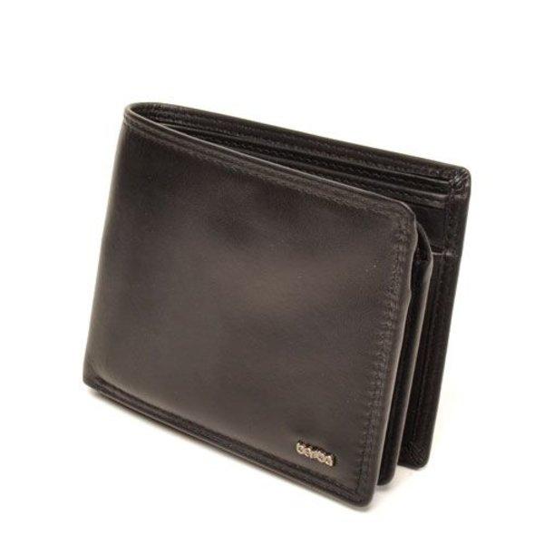Prachtige zwart met leergevoerde ''Billfold'' portemonnee