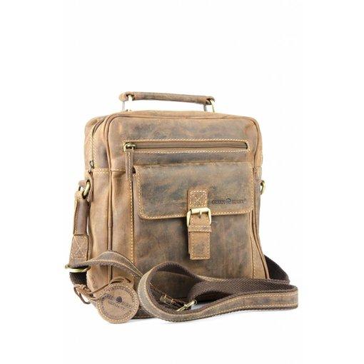GreenBurry vintage bruine messenger tas