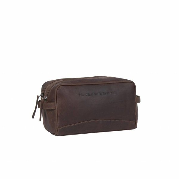 Toiletbag 'Stacey' Wax Pull Up Leather Bruin