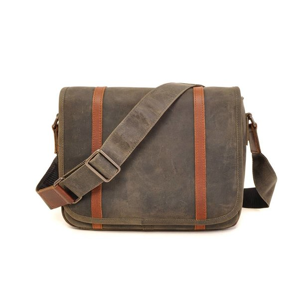 Stoere used-look laptoptas - military