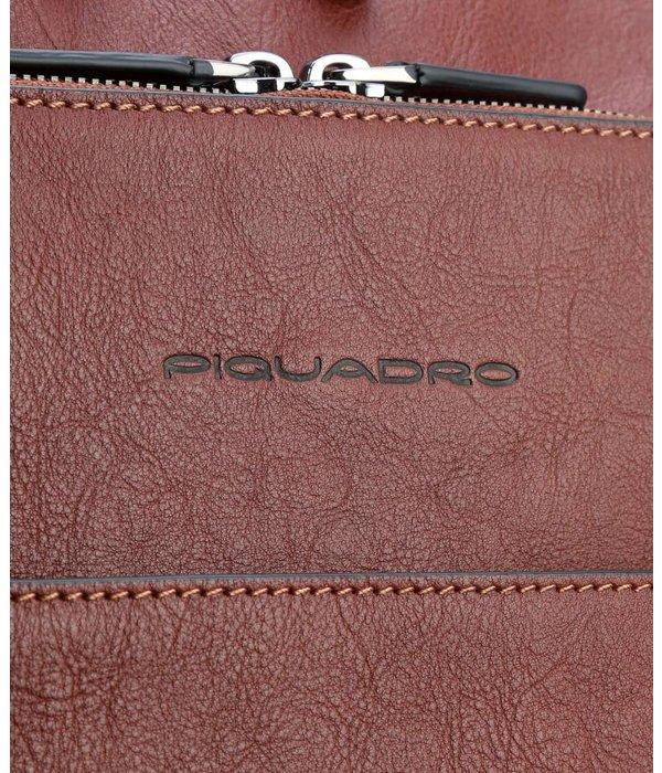 Piquadro Black Square 15'' Laptop Rugzak gegreineerd rundleer tobacco