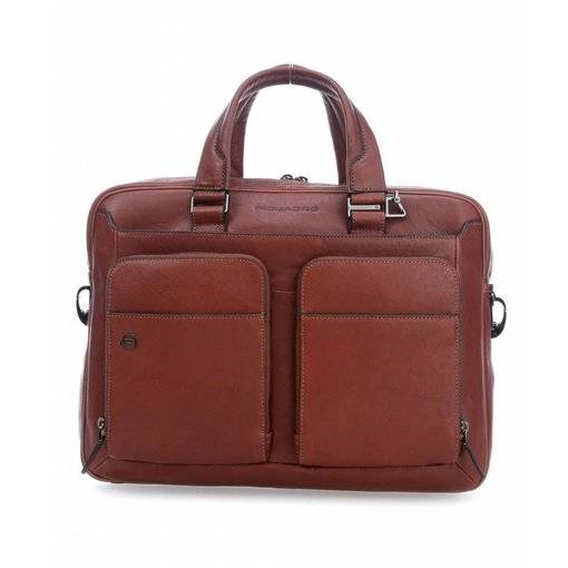 "Piquadro Black Square Computer Briefcase 15"" tobacco"
