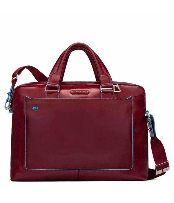 Piquadro Blue Square 16'' Aktetas met laptopvak glad kalfsleer rood
