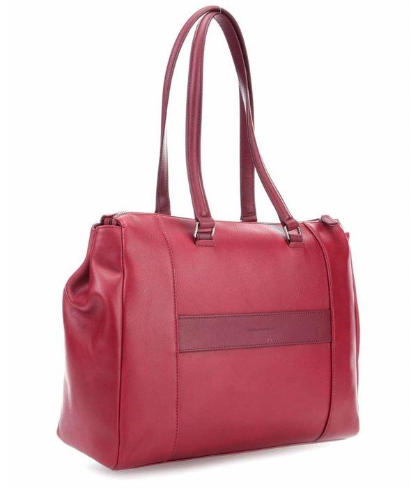Piquadro Cary 14'' Aktentas fijn gegreineerd rundleer rood