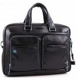 Piquadro Blue Square 15'' Aktetas met laptopvak glad kalfsleer zwart