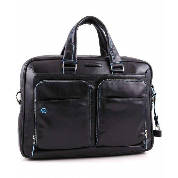 Blue Square 15'' Aktetas met laptopvak glad kalfsleer zwart