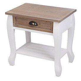 Nachttisch Sabrina weiß / braun