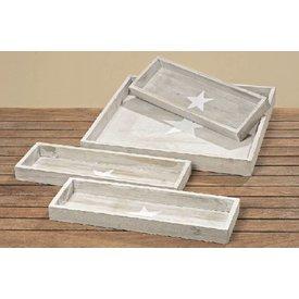 Meinposten.de Deko-Tablett Stern Grau Tablett groß klein Holz Serviertablett Dekoration