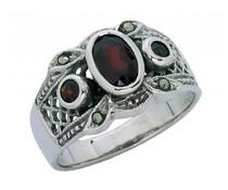 Silber + Markasiten + Granat 8305