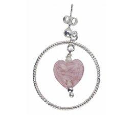 Silberohrringe 4713 pink Muranoglas 33x43mm Paarpreis