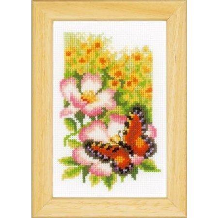 Vervaco Borduurpakket Vlinders en bloemen