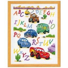 Vervaco Borduurpakket ABC met Cars