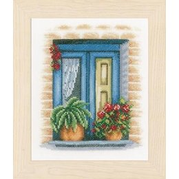 Vervaco Borduurpakket blauw raam