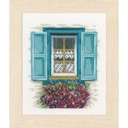 Vervaco Borduurpakket raam met blauwe luiken