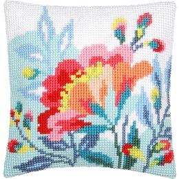 Vervaco Kussen bloem in frisse kleuren