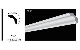 Vidella VC40 (40 x 40 mm), plafondlijst, sierlijst, lengte 2 m