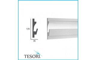 Tesori KD401 (125 x 35 mm), lengte 1,15 m, LED sierlijst voor indirecte verlichting XPS  - Verzonken / Semi-Verzonken