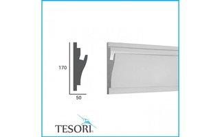 Tesori KD403 (170 x 50 mm), lengte 1,15 m, LED sierlijst voor indirecte verlichting XPS - Verzonken / Semi-Verzonken