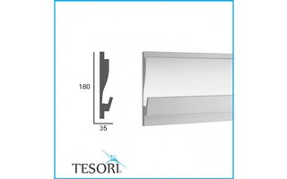 Tesori KD405 (180 x 35 mm), lengte 1,15 m, LED sierlijst voor indirecte verlichting XPS - Verzonken / Semi-Verzonken