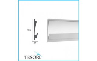 Tesori KD406 (180 x 35 mm), lengte 1,15 m, LED sierlijst voor indirecte verlichting XPS - Verzonken / Semi-Verzonken