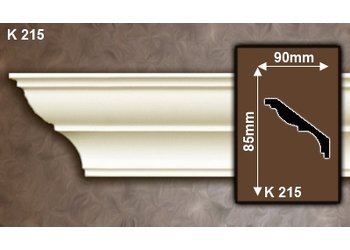 Grand Decor Kroonlijst K215 (85 x 90 mm), polyurethaan, lengte 2 m