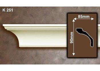 Grand Decor Kroonlijst K251 (90 x 85 mm), polyurethaan, lengte 2 m