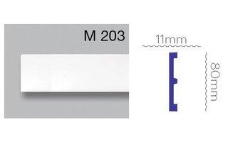 Grand Decor Platte plint M203 (80 x 11 mm) polyurethaan, lengte 2 m