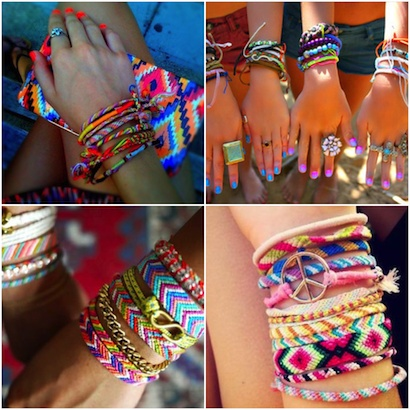 Friendship bracelet grijs/roze