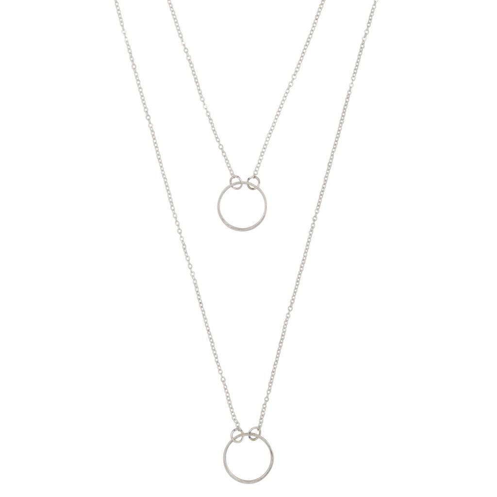 Club Manhattan Double Row Circle necklace zilver