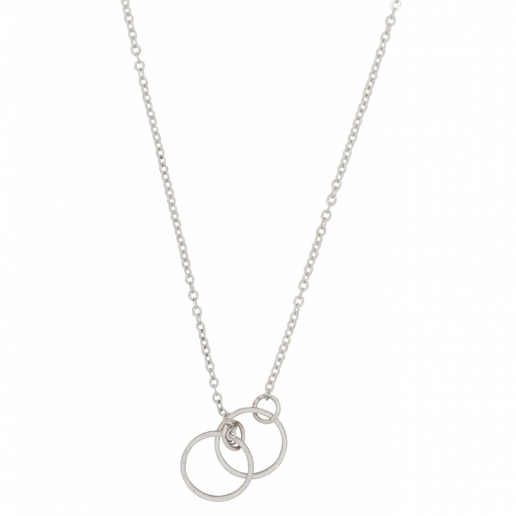 Club Manhattan Chain Linked Circle Necklace zilver
