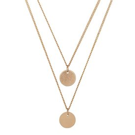 Club Manhattan Double Medallion Necklace goud