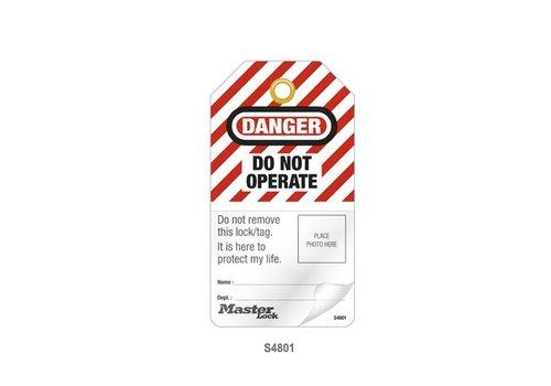 Gelamineerde lockout-tags met foto-ID S4800