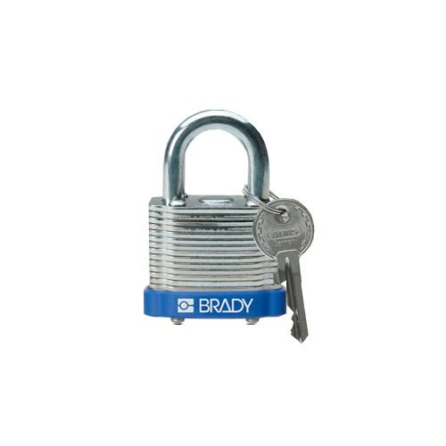 Laminated steel safety padlock blauw 814086
