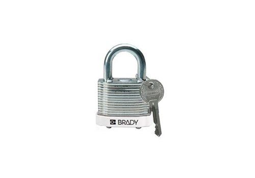Laminated steel safety padlock white 814094