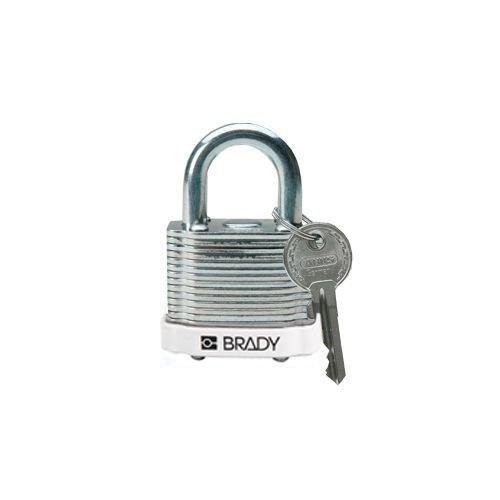 Laminated steel safety padlock white 814094