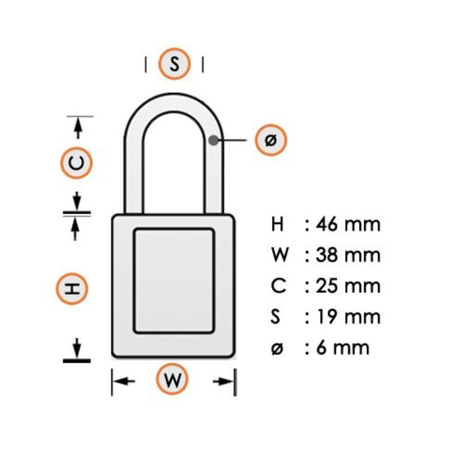 Sicherheitsvorhängeschloss aus eloxiertes Aluminium weiß S1105CLR