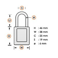 Anodized aluminium safety padlock yellow S1105YLW