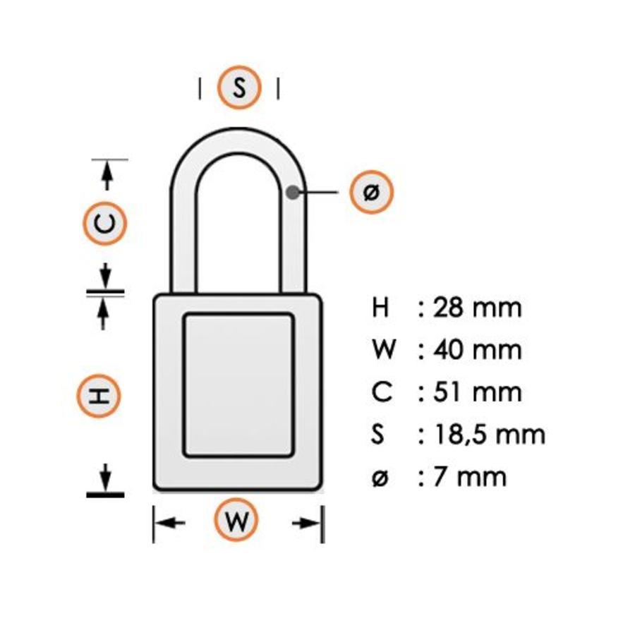 Gelamineerd stalen veiligheidshangslot wit 814112