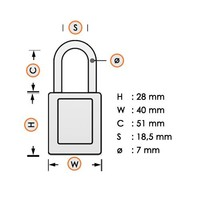 Laminated steel safety padlock red 814106