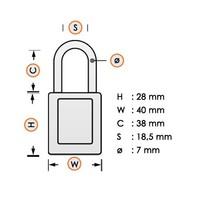 Laminated steel safety padlock green 814099