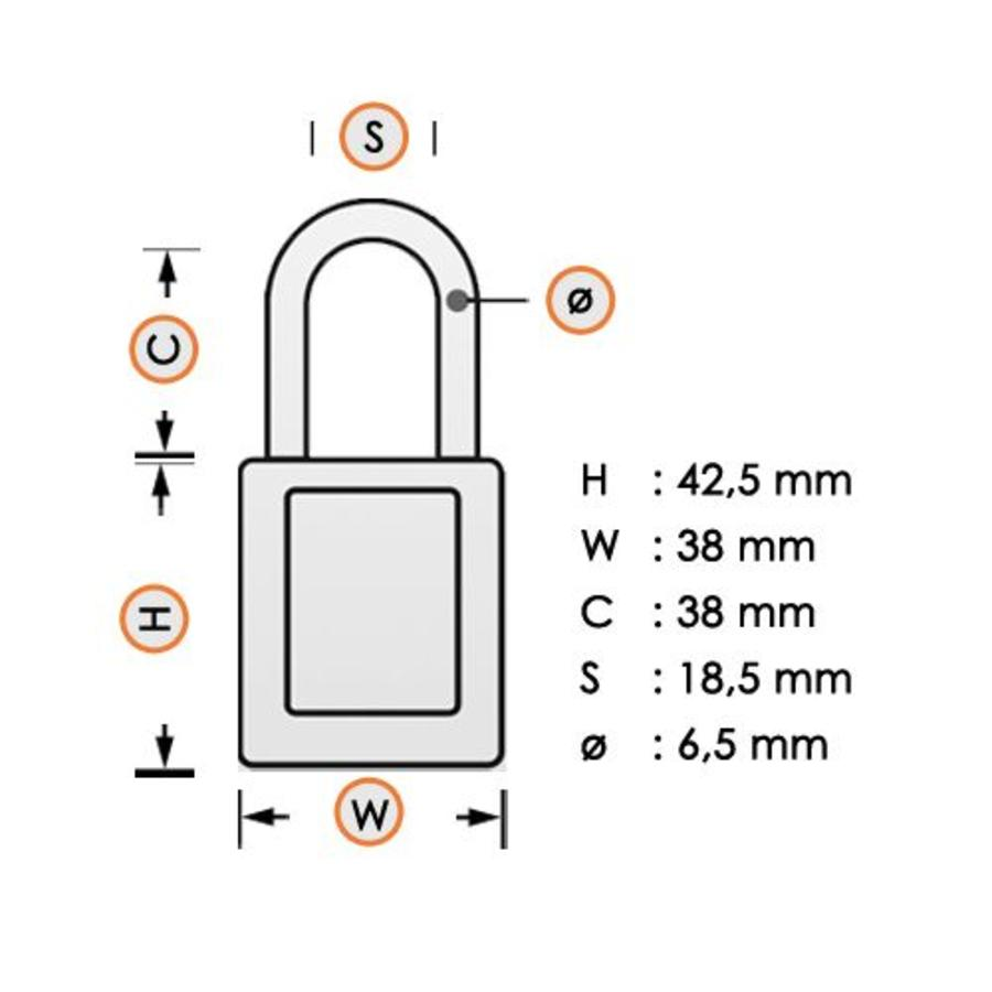 Nylon Sicherheits-vorhängeschloss weiß 813641