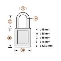Zenex safety padlock orange S32ORJ - S32KAORJ