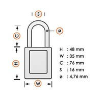 Zenex safety padlock white S31LTWHT