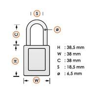 Nylon veiligheidshangslot wit 813638